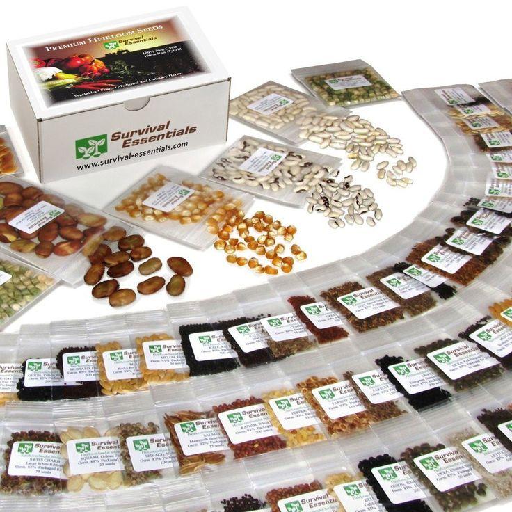 EMERGENCY FOOD SURVIVAL VEGETABLE SEEDS NON-GMO HEIRLOOM SEED BANK PACK  SET KIT