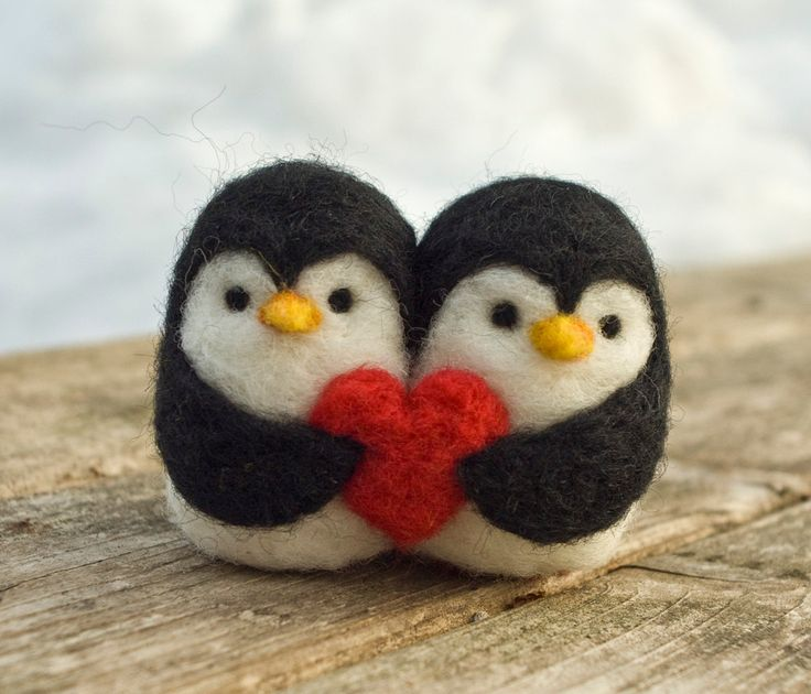 Needle Felted Penguin Love Birds by scratchcraft