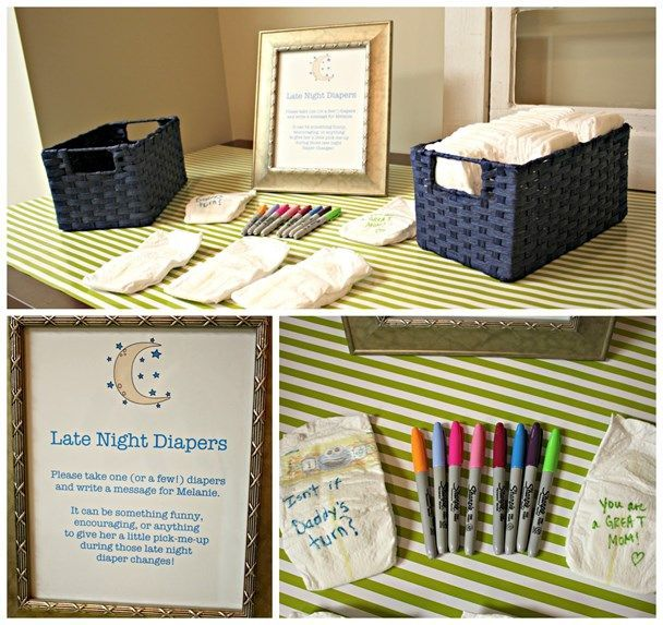 Late Night Diapers - take a diaper and write mom-to-be a funny or encouraging message to make her smile during late night diaper changes. Cutest shower idea!