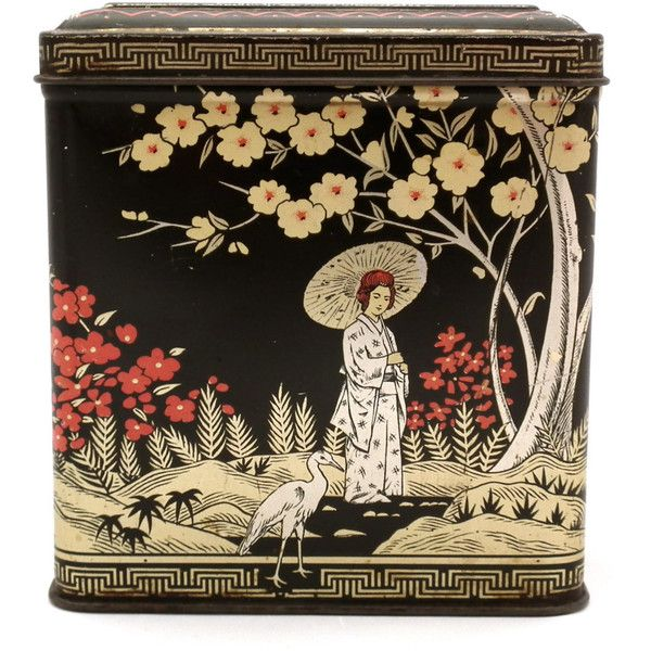 Vintage Black Floral Tin - Tea Canister - Asian Tin - Japanese Design... (44 BRL) ❤ liked on Polyvore featuring home, kitchen & dining, food storage containers, fillers, food, decor, tea, tea cannister, tin canisters and tin food storage containers