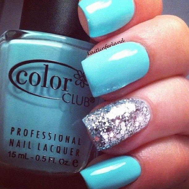 Tiffany blue nails and glitter accent - Best 25+ Tiffany Blue Nails Ideas On Pinterest Tiffany Nails