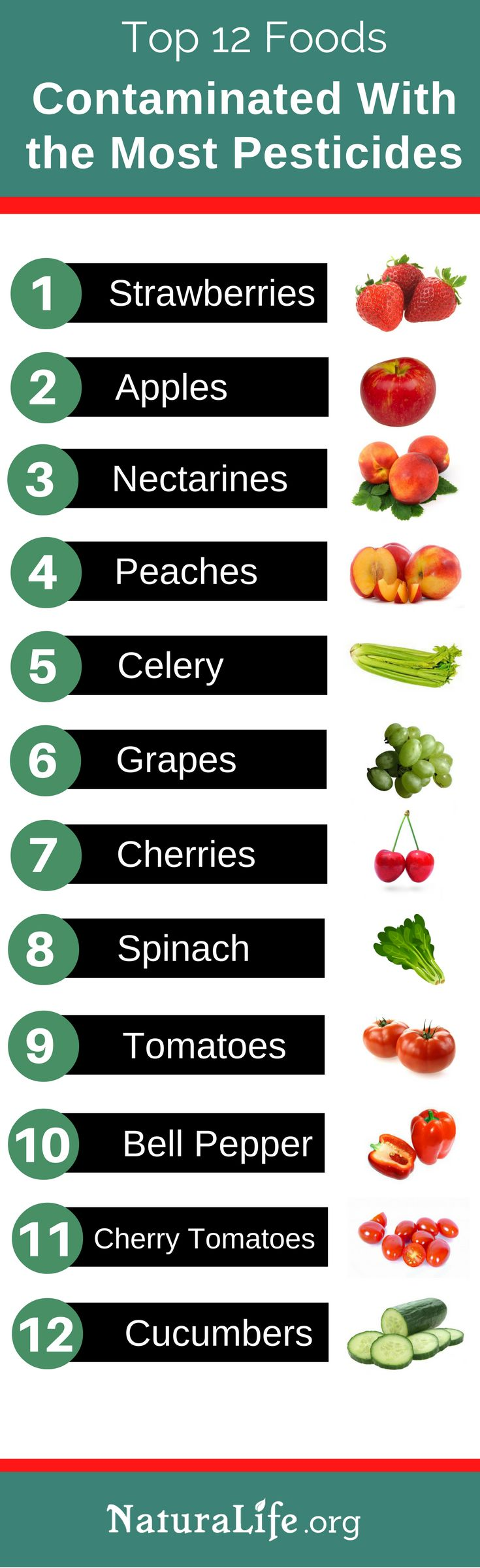 12 Foods That Should ALWAYS be bought #organic or not at all because they contain high levels of pesticides. I keep this list bookmarked so I can avoid these foods or make sure I buy them organic when I am grocery shopping. It's really important to avoid pesticides because they can cause cancer, brain damage, and many other health issues. 7:47 pm via Web