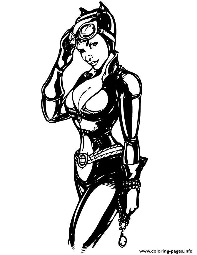Print Pretty Catwoman From Batman Comic Coloring Pages Catwoman Catwoman Cosplay Batman Comics