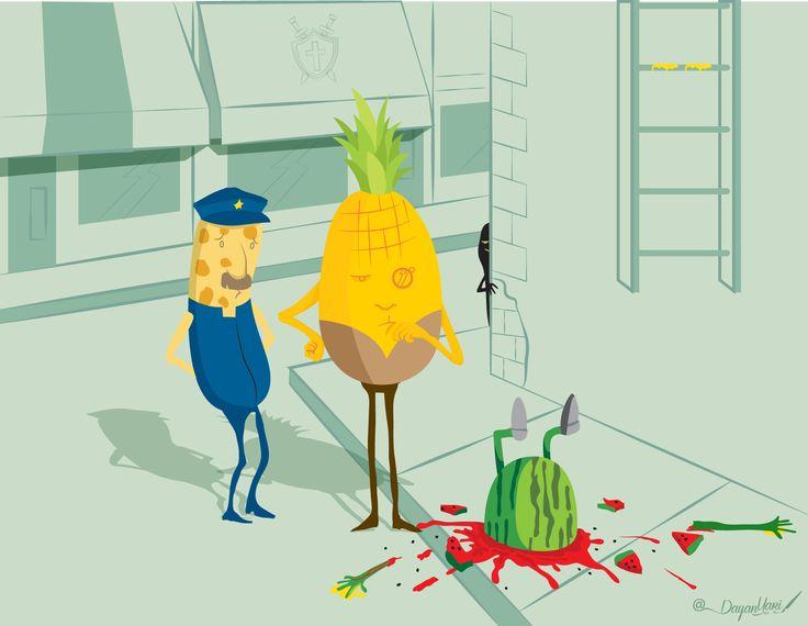 """Mr. Piña """"El crimen de la patilla"""" #ilustration #ilustracion #oldstyle"""
