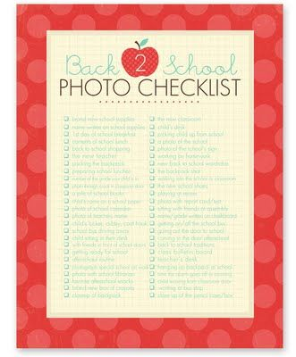 Back 2 School Photo Checklist c/o @Rebecca Cooper from simple as that