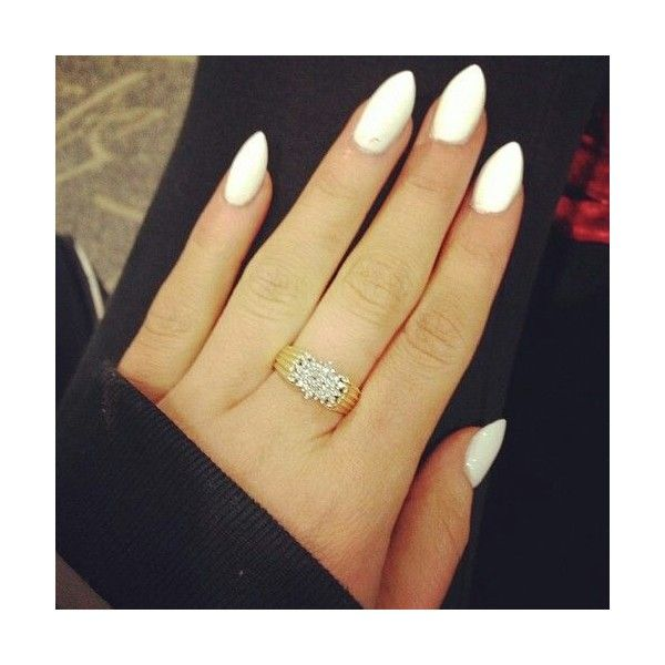 White almond nails make up, hair, nails via Polyvore featuring beauty products and nail care