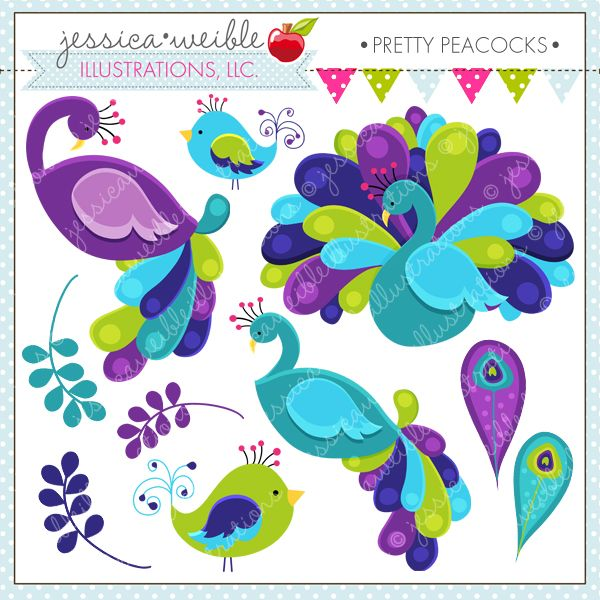 Pretty Peacocks - beautiful and bright, these peacocks are perfect for stationery, card making and more.