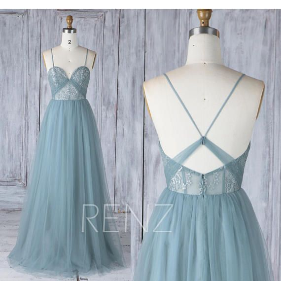 Bridesmaid Dress Dusty Blue Tulle Long Prom Dress for Women Sweetheart A-line Backless Lace Boho Wedding Dress (HS523)
