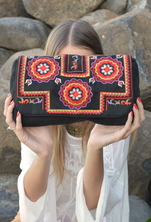 Mona Folklore Clutch Bag – Black | www.thefreedomstate.com.au embroidered, boho, bohemian