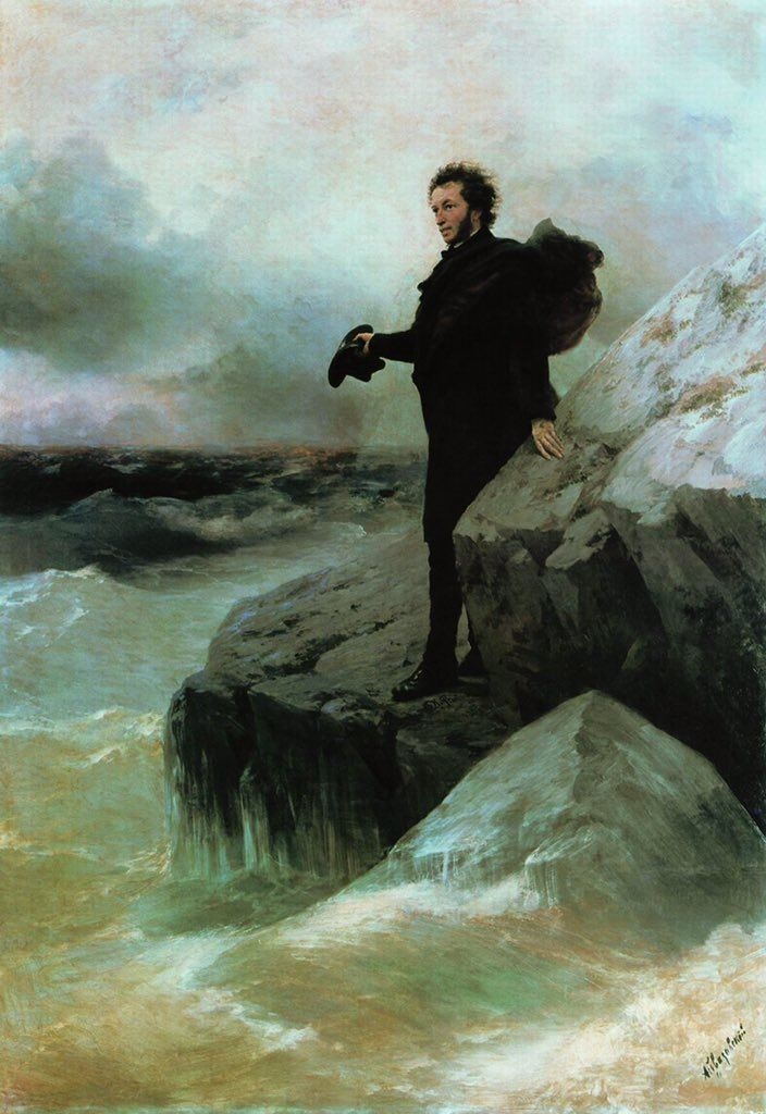 Paintings of the poet Alexander Pushkin by the master of seascapes, Ivan Aivazovsky. (@barbaricrussia)