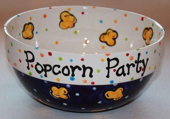 Ceramic Popcorn Bowl by JMMPotteryDesigns on Etsy, $40.00