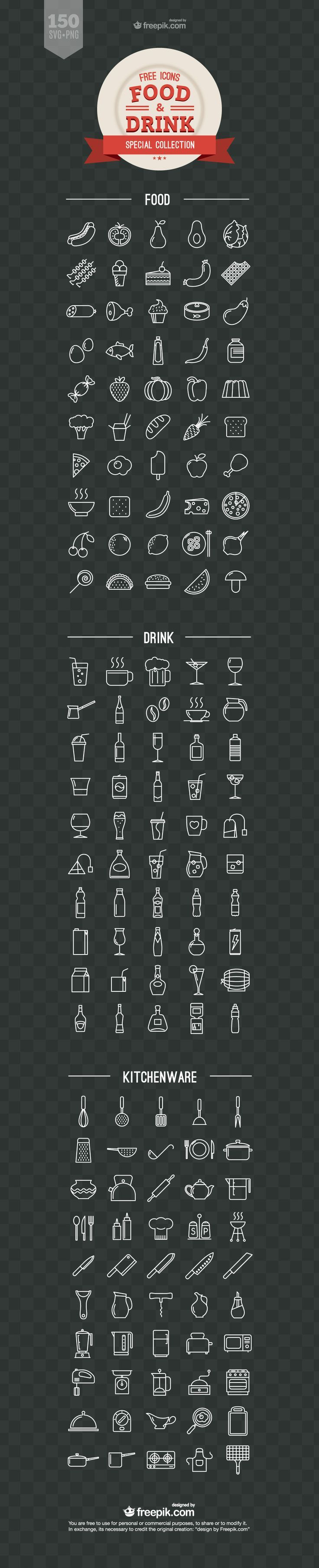 Food and Drink Free Vector Icons: