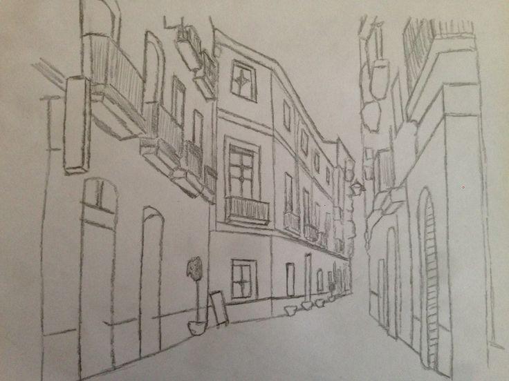este trabajo consistia en realizar un boceto urbano y en la imagen se encuentra una calle conocida de Jaén cerca de la catedral.