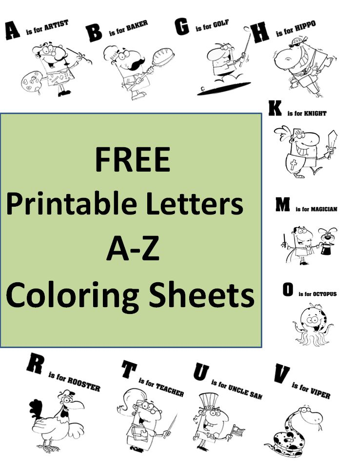 free printable letters a-z coloring sheets - I love the unique words used for each letter!