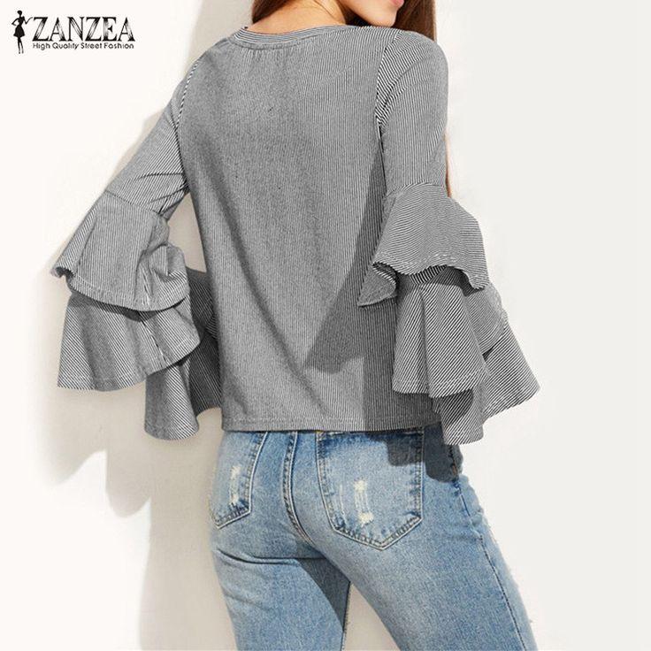 Striped Shirts 2017 ZANZEA Women Blouses Autumn O-Neck Flounce Long Sleeve Blusas Casual Loose Tops Plus Size S-2XL