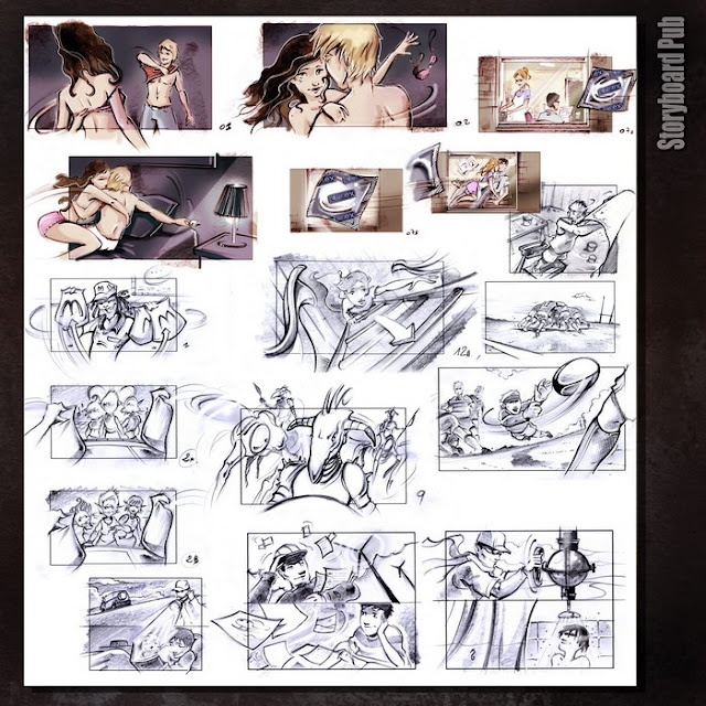 Storyboard PUB (Durex - Mc Donald's-Total-etc..) ( dessin Eric Gandois )