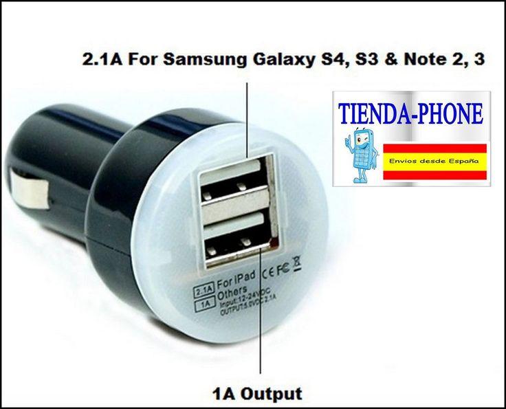 Cargador de Coche para HP SlateBook 10-h000ss x2 Negro 2 USB Doble Dual Movil *