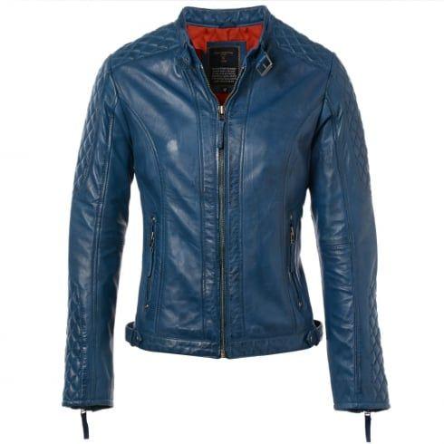Ladies Ashwood Kore Blue Leather Jacket