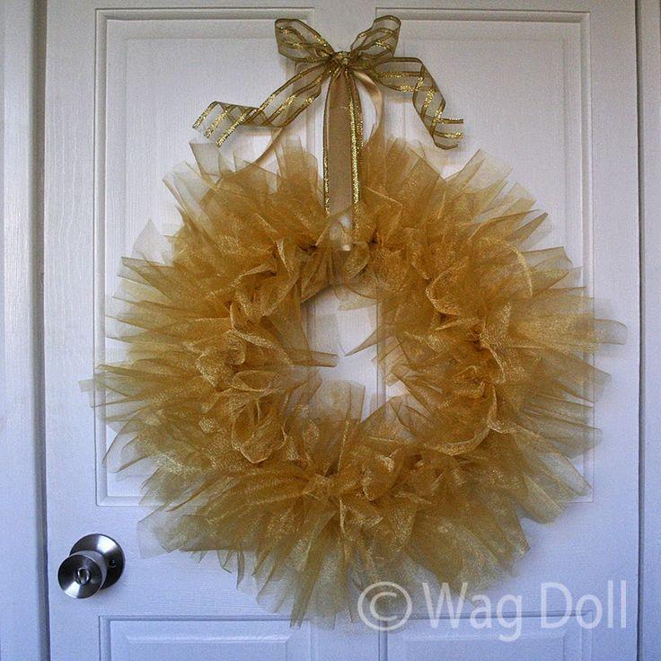 Diy coronas de navidad con tul y lazo guirnaldas de navidad tul y guirnaldas - Guirnaldas navidad manualidades ...