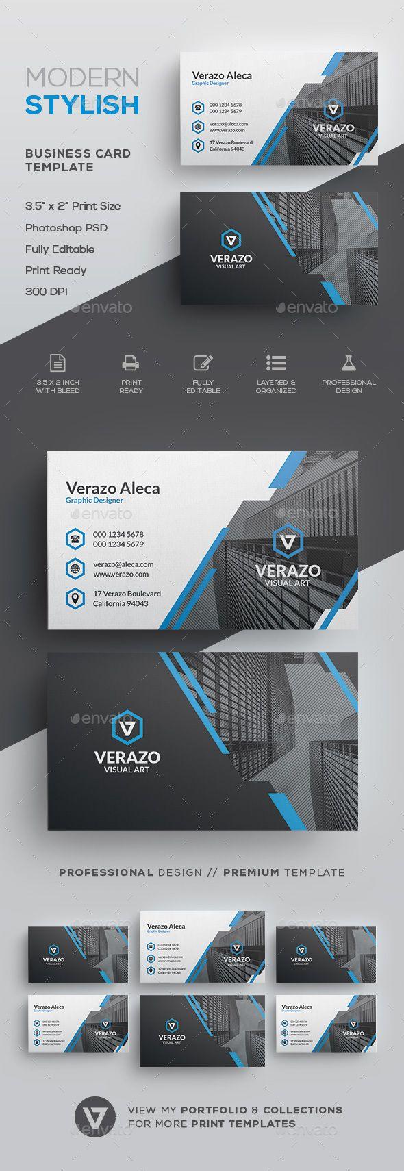 Modern Stylish Corporate Business Card Template - Corporate Business Cards(Fitness Logo Abstract)