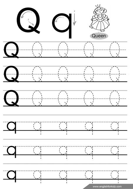 Letter q tracing worksheet handwriting