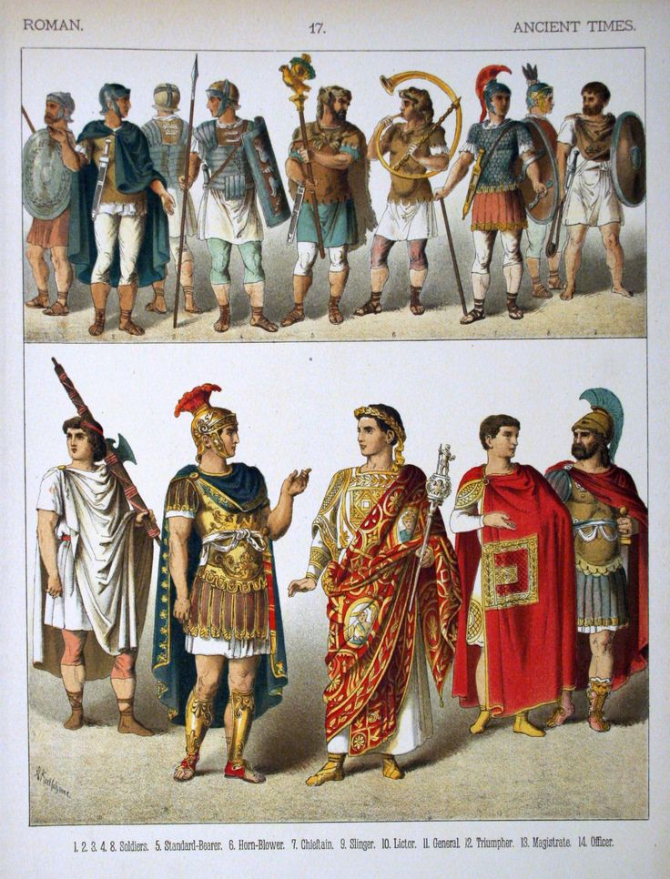 In Roman theater, different costumes meant that person's role in the play. A purple costume identified a rich man Boys wore striped togas Soldiers wore short cloaks Red costumes indicated a poor man A yellow robe meant the character was a woman Short tunics indicated a slave A yellow tassel meant the character was a god