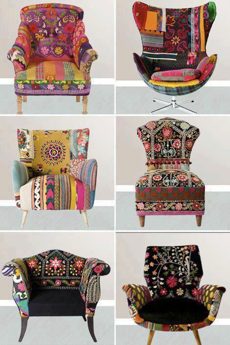 bohemian chairs! Love the middle one on the left. It would look adorable in my bedroom.