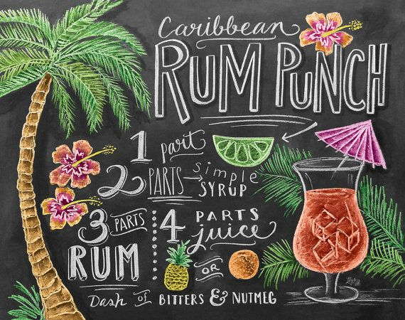 Tropical Recipe Print - Summer Print - Caribbean Rum Punch - Chalkboard Art +DIY..Perfect for my tropical Kitchen + Beach Home Decor