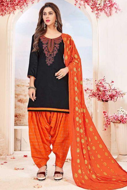 61c7b92ea2 Stunning Glace Cotton Patiala Suit In Black   Sona my jaan   Patiala ...