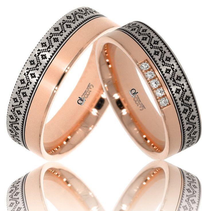 Verighete ATCOM Lux personalizate VIORICA aur alb cu roz