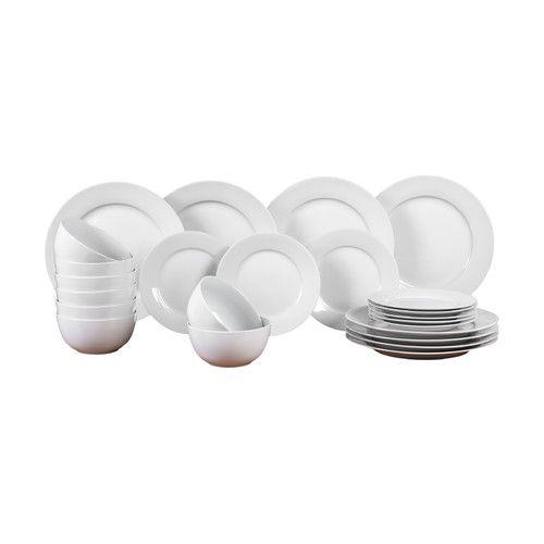 Porcelain Pure 24 Piece Dinnerware Set Dinnerware China