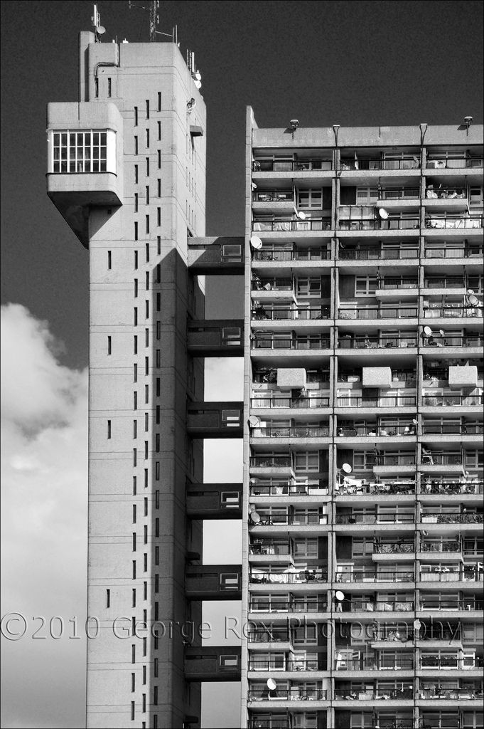 Trellick Tower, monochrome detail  Architect: Ernő Goldfinger (1902-1987), building completed 1972. Initially, due to improper management, the tower had a bad reputation in terms of anti-social behaviour and crime. However, in recent years it has become a very desirable place to live. As a surviving example of Brutalism it was Grade II* listed in 1998.  Closest tube: Westbourne Park