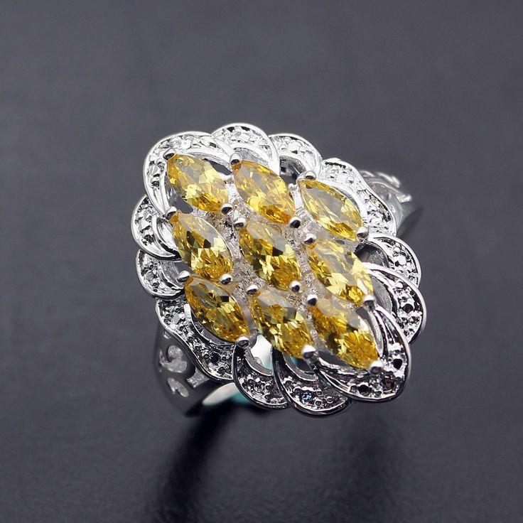 Hermosa Jóias Da Princesa Amarelo Brilhante de Citrino 925 Prata Esterlina Anéis de Noivado de Casamento 9 # em   de   no AliExpress.com | Alibaba Group