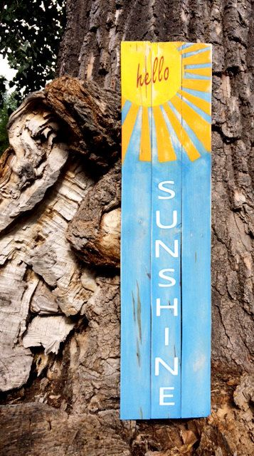 Hello Sunshine Reclaimed Wood Sign by DreamCatchersStudio on Etsy
