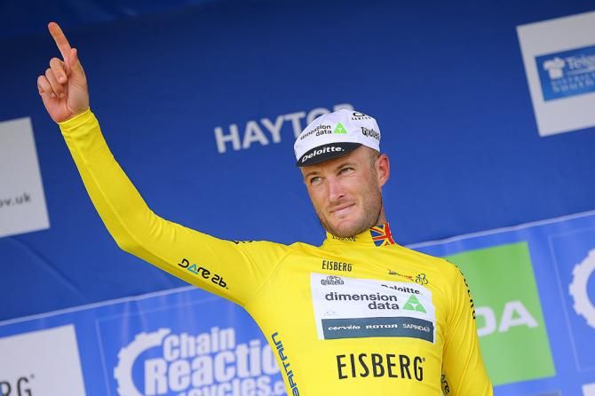 Steve Cummings in yellow at the Tour of Britain after stage 6