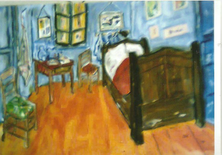 La chambre de Vincent Van GOGH peinte été 2008 Acrylique sur papier exposée à La Boutique de Valétudo à St Rémy en Provence (13) cadeau fait...