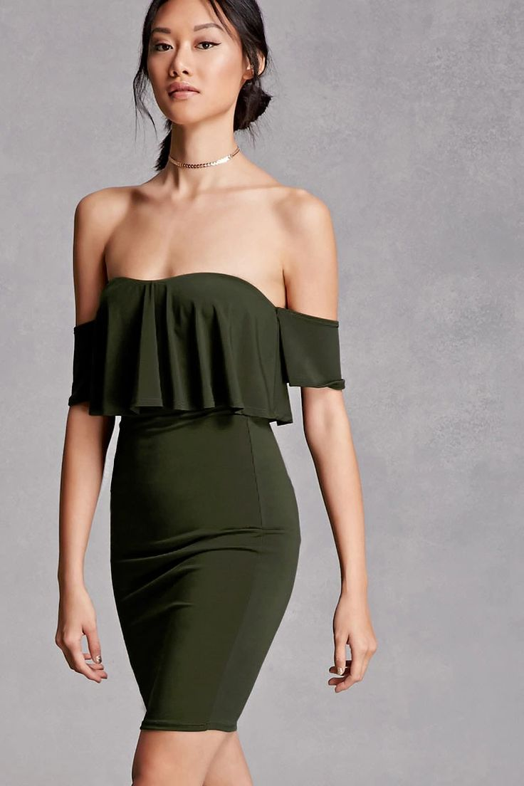 A stretch-knit dress featuring an off-the-shoulder design, ruffled flounce layer, sweetheart neckline, short sleeves, and a bodycon silhouette. This is an independent brand and not a Forever 21 branded item.