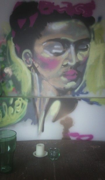 Frida kahlo graffiti style mural in my dining room