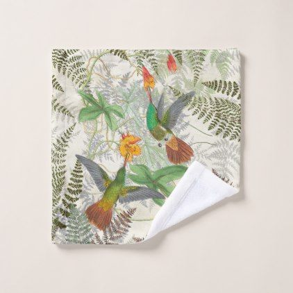 Hummingbird Birds Ferns Flowers Wash Cloth - home gifts ideas decor special unique custom individual customized individualized