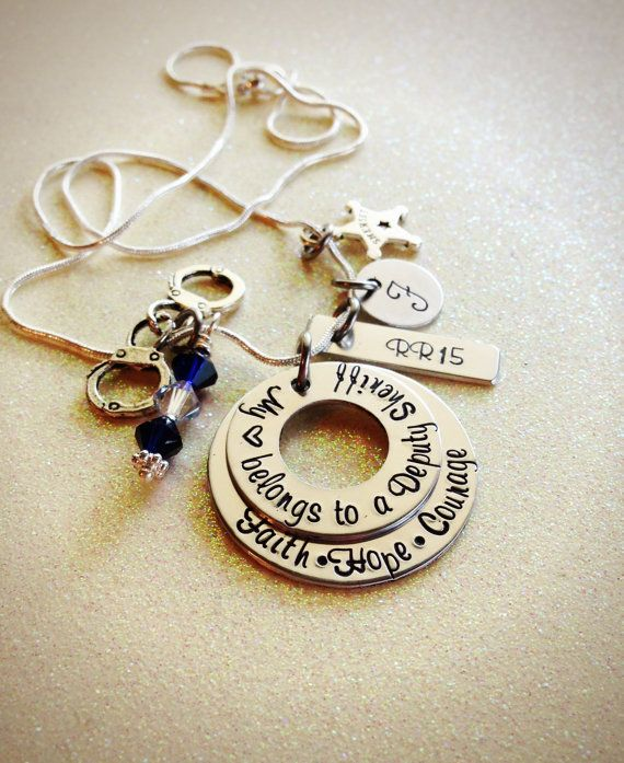 Custom Hand Stamped Sheriff Deputy Wife or Girlfriend necklace by GabbieGoodies,  this is nice wonder if the have one thats says police instead of sheriff