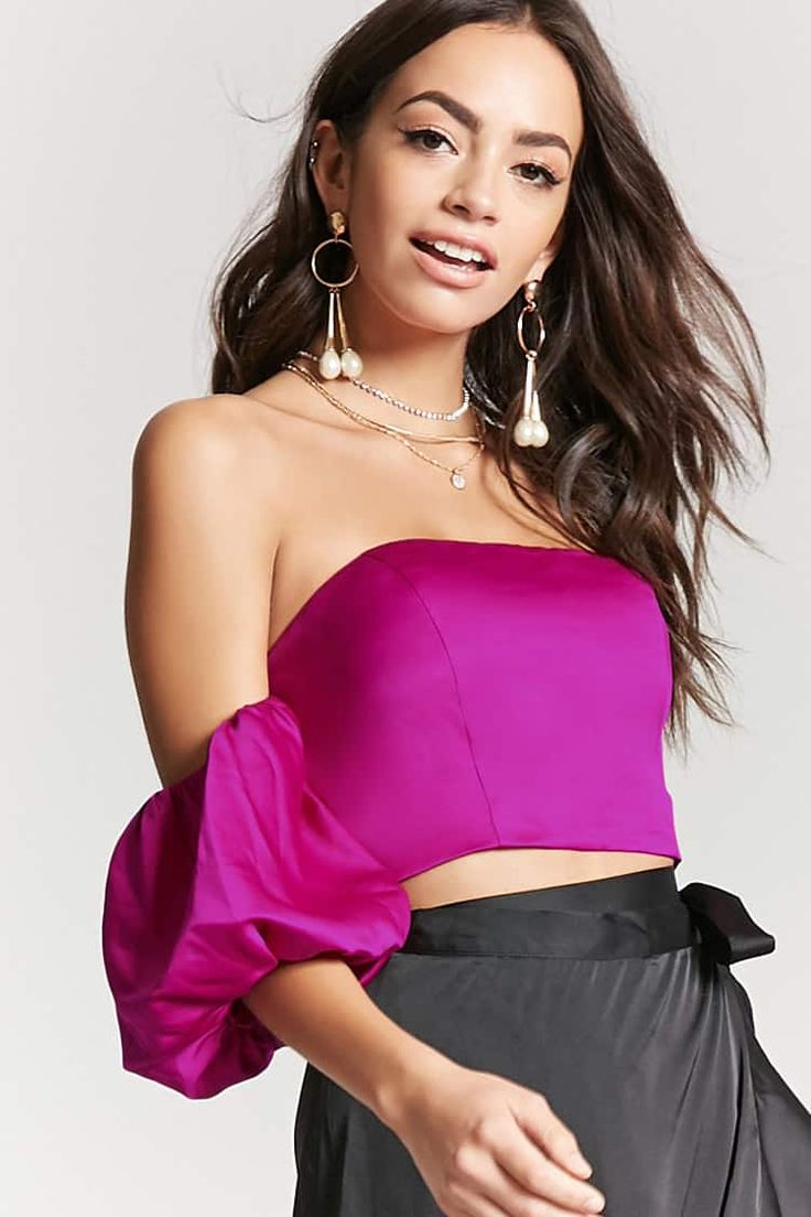 Satin Off-the-Shoulder Crop Top