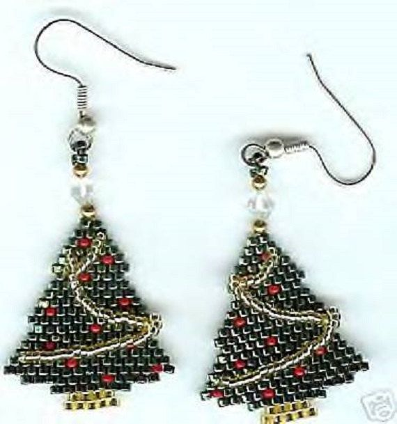 Hand beaded Christmas tree dangling earrings.