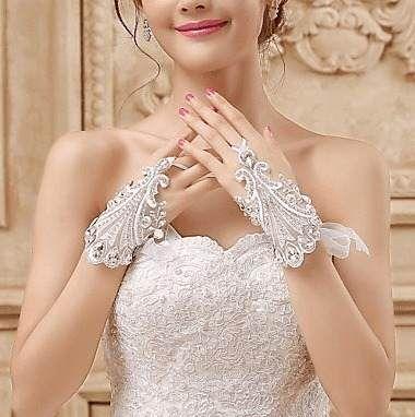 luva luvas de noiva até o pulso sem dedos renda-tule