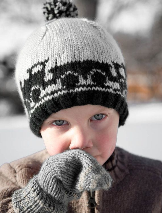 Boy's Knit Hat with Train Cars - Captain Caboose  Very cute.
