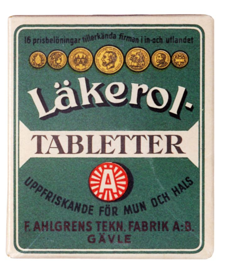 Läkerol – makes people talk. The throat lozenge has a long, amusing and interesting history. It has survived two world wars, been delivered to royalty in a gold box and sponsored Sweden's first sailplane flight. In addition, Läkerol has been a Purveyor to the Court of Sweden since 1916.