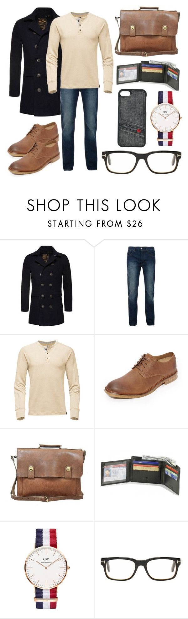 """Men's Fall Fashion"" by kellsmarie18 ❤ liked on Polyvore featuring Superdry, Bellfield, Clarks, Daniel Wellington, Tom Ford, Diesel, men's fashion and menswear"