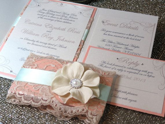 SHABBY CHIC Mint And Peach Vintage Lace Pocketfold Wedding Invitation Flower Unique Spring