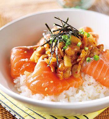 アトランティックサーモンの納豆キムチ丼