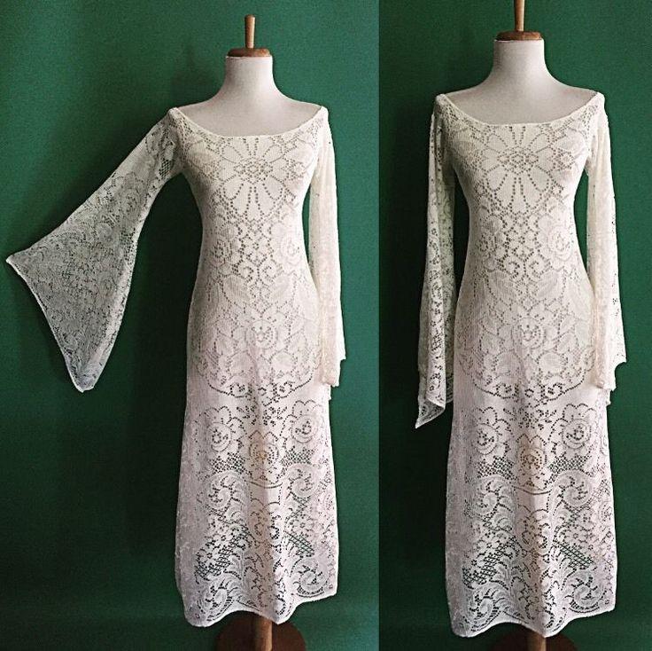 Винтажный 70-х годов богемное чистый вырезать хиппи белый вязаный крючком кружевной ангел свадебное платье макси | Одежда, обувь и аксессуары, Винтаж, Винтажная одежда для женщин | eBay!