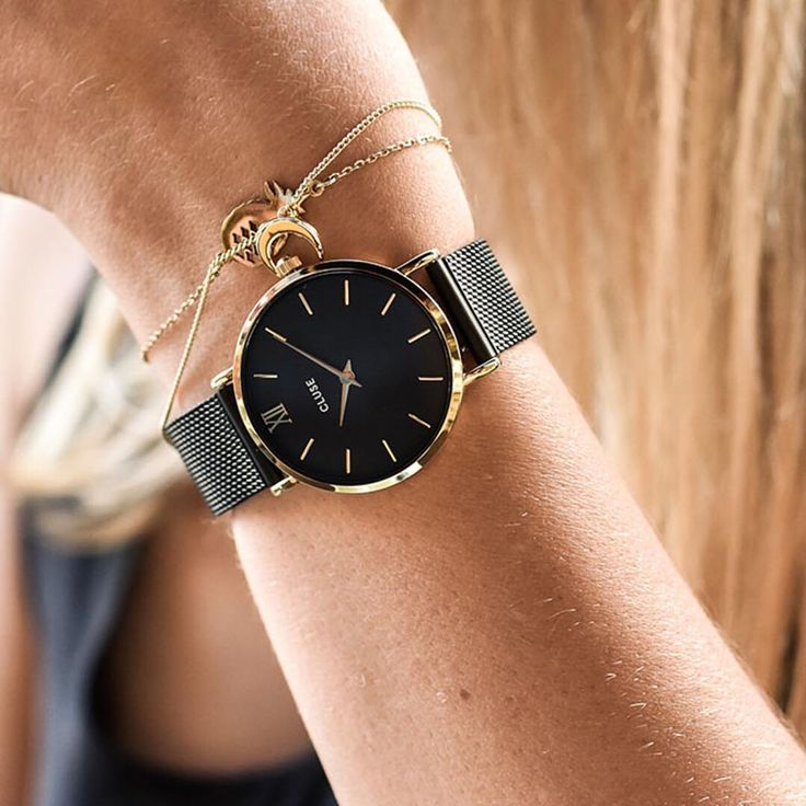 Our Minuit Mesh Gold Black/Black is simply stunning ✨ Find it now at www.clusewatches.com #CLUSE